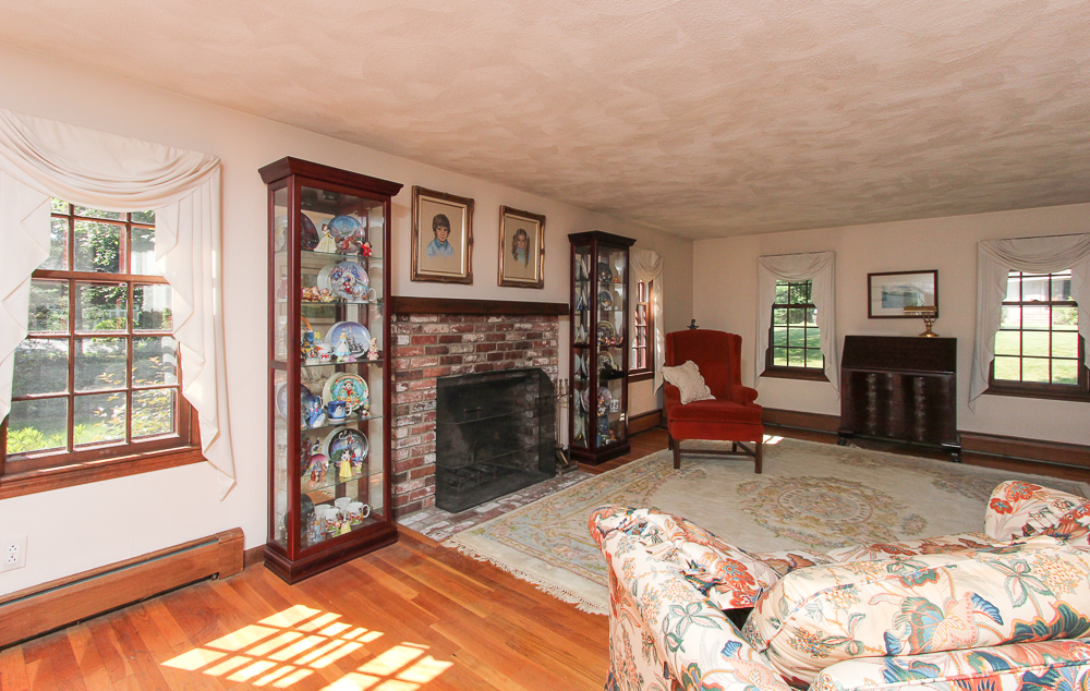 The living room at 28 Juniper Street in Wenham, MA