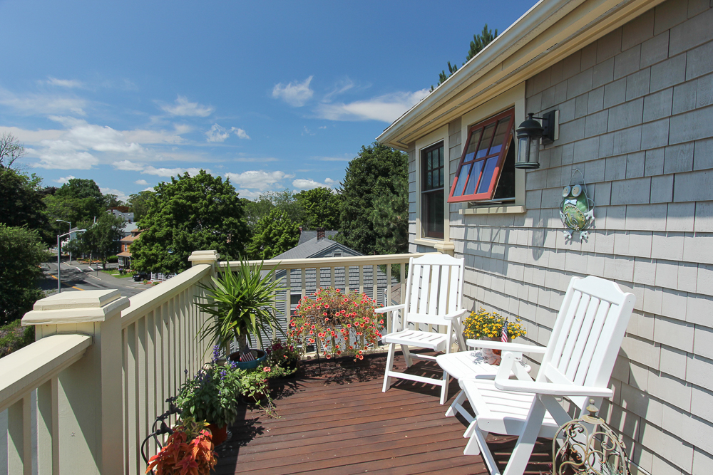 Front Deck overlooking Hale Street at 6 Ober STreet Beverly, MA - Unit 3