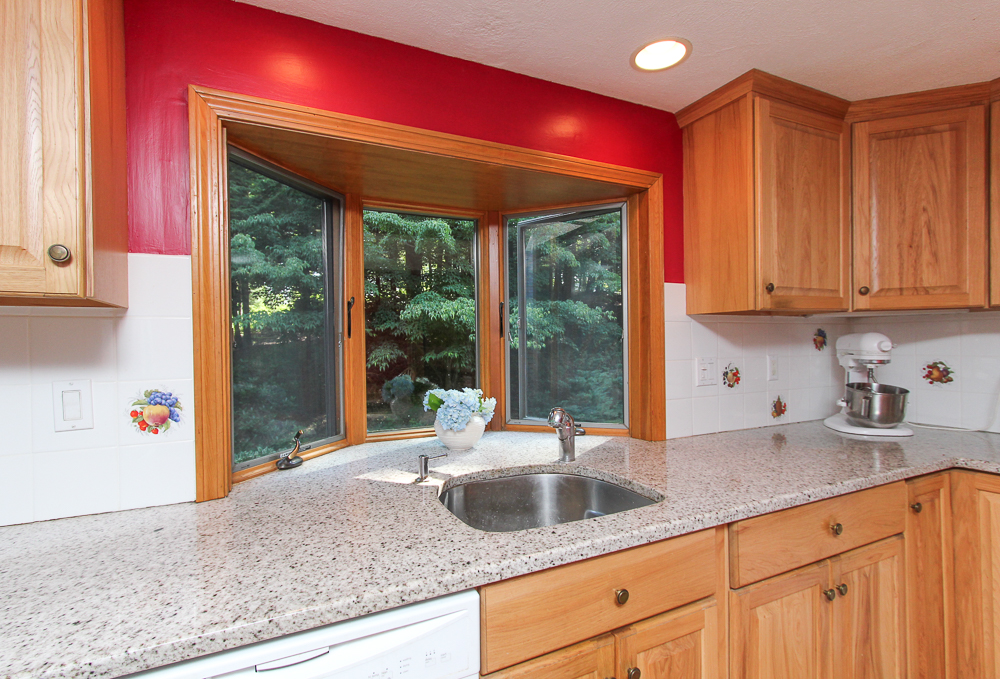 Bay window in the kitchen at 28 Juniper Street in Wenham, MA