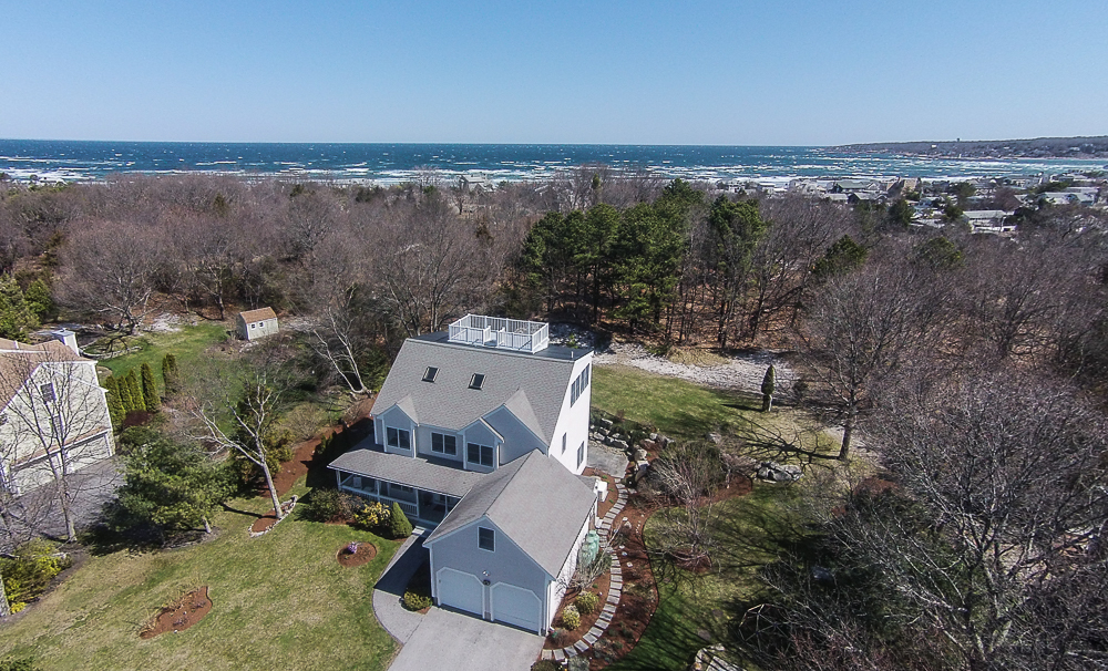 Aerial front 48 Castle View Drive Gloucester MA