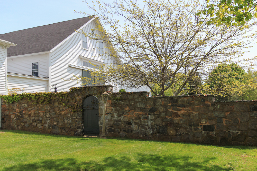 Barn and Stone Wall with Door 104 Essex Road Ipswich, MA