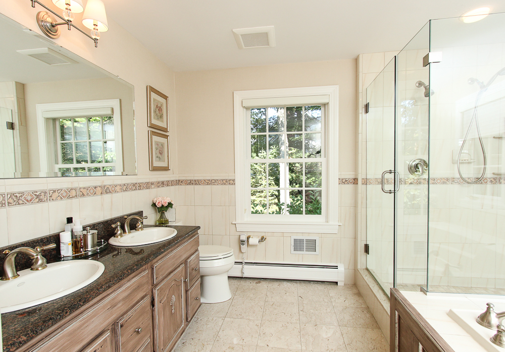 Main bath with double sinks 33 Old Planters Road Beverly Massachusetts
