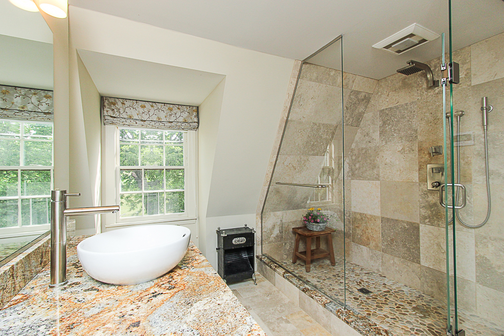 Tiled main bathroom with walk-in shower granite and vessel sink 4 Lanes Road Essex Massachusetts