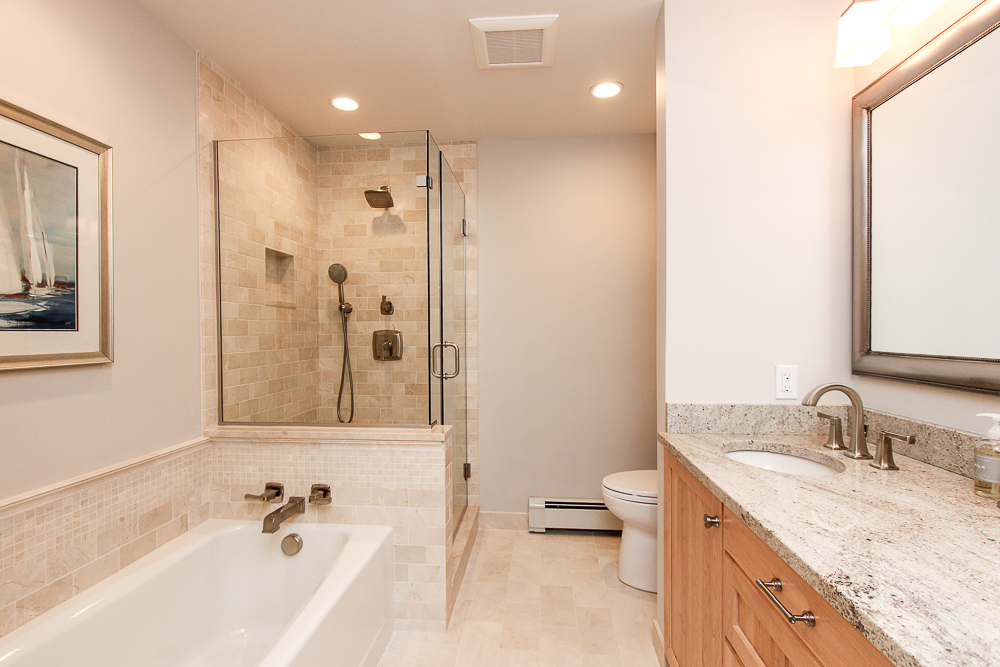 Bathroom tiled with separate tub and walk-in shower 33 Old Planters Road Beverly Massachusetts