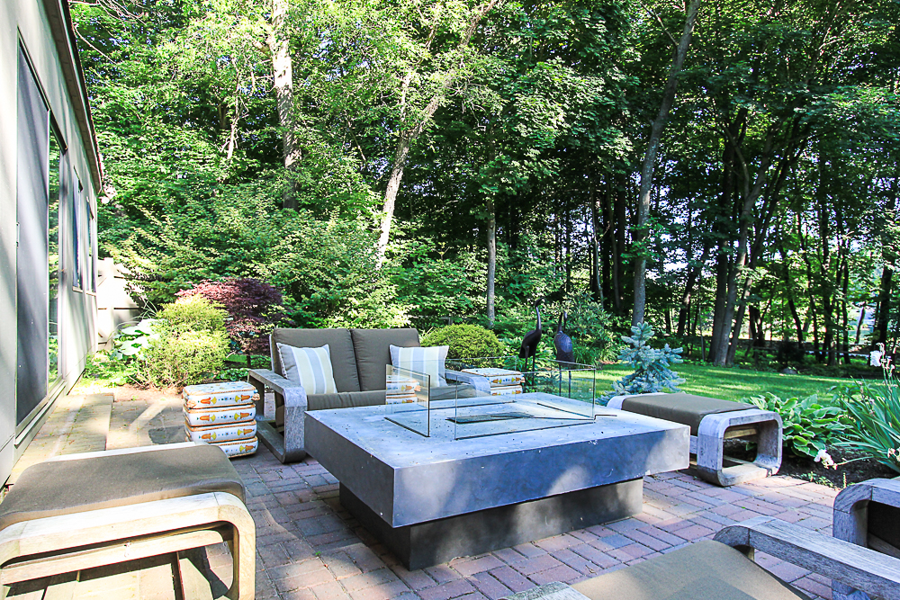 Early moring fire pit on patio 27 Miles River Road Hamilton, Massachusetts