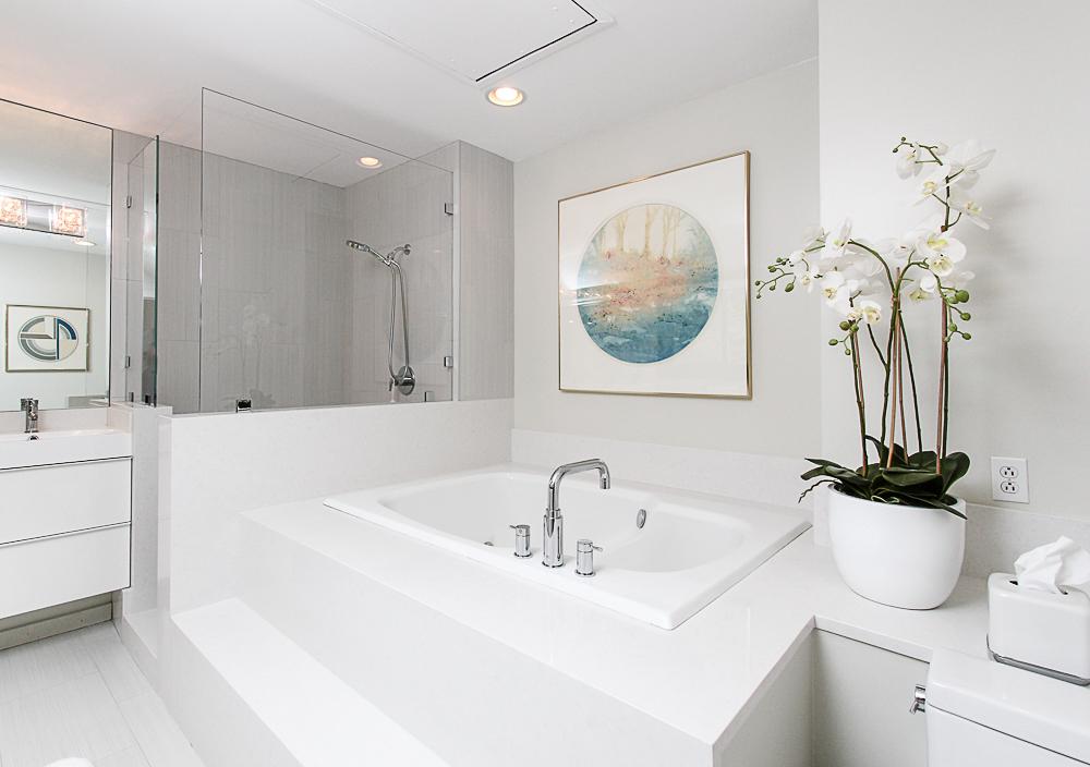 Main bath with soaking tub and tiled shower 27 Miles River Road Hamilton Massachusetts