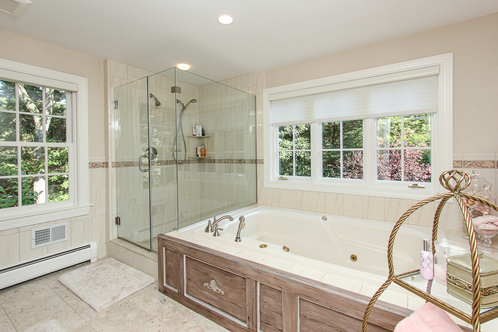 Main bathroom with tub and walk-in shower 33 Old Planters Road Beverly Massachusetts