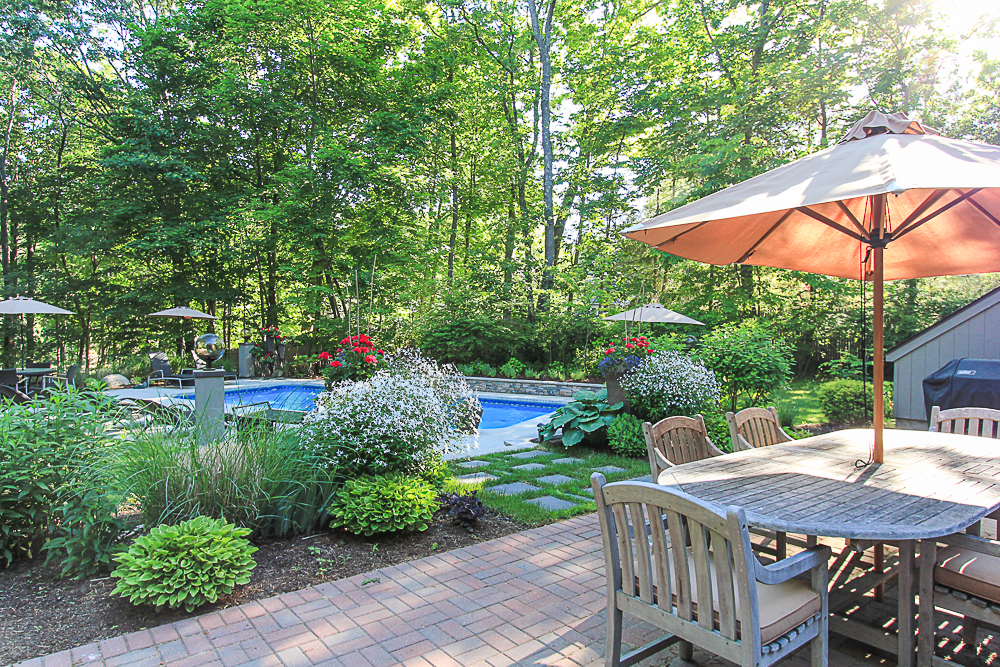 Early morning patio and pool 27 Miles River Road Hamilton, Massachusetts