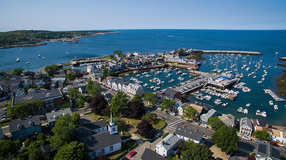 Aerial Granite Pier Gloucester Massachusetts