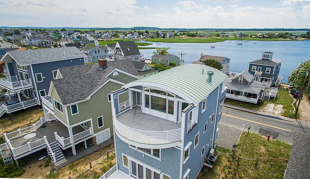 Aerial of deck 92 Northern Blvd Newbury Massachusetts