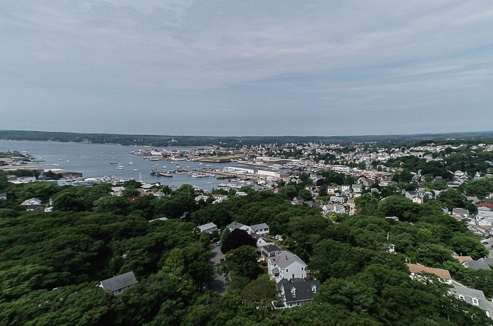 Aerial of Gloucester Harbor Gloucester Massachusetts