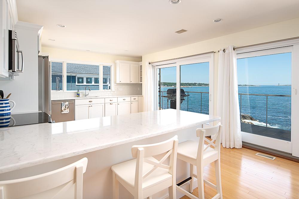 Breakfast bar and sliders to deck 20 High Rock Terrace Gloucester Massachusetts