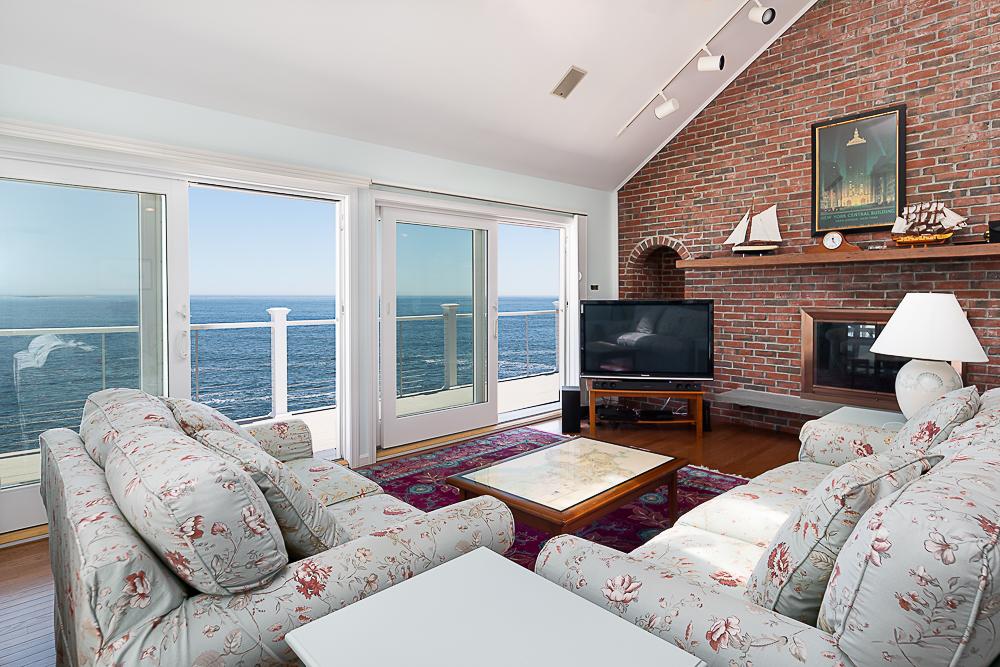 Living Room with sliders to deck 20 High Rock Terrace Gloucester Massachusetts