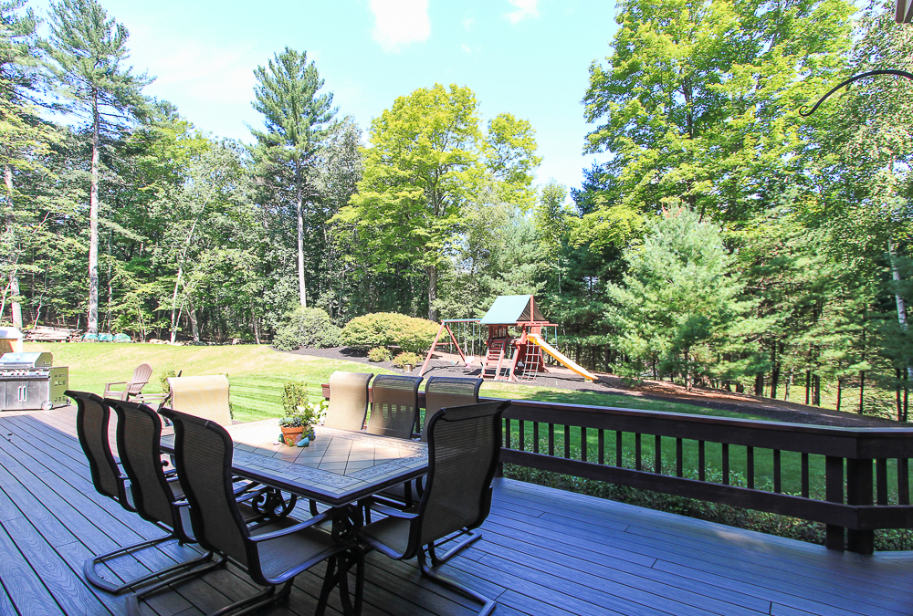Deck facing out towards yard at 48 Boren Lane Boxford Massachusetts