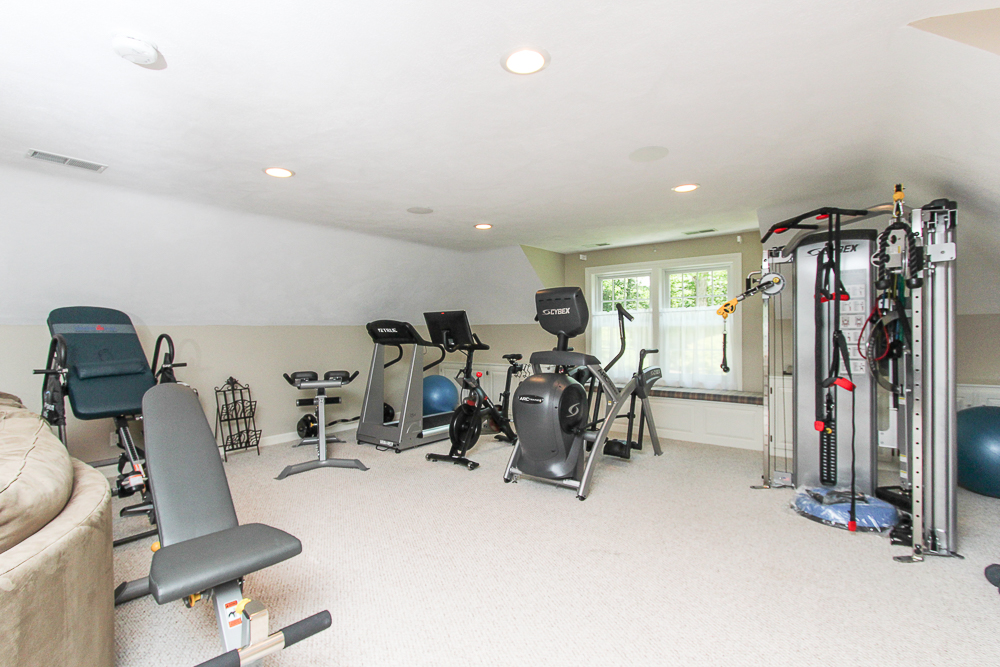 Bonus room set up as an excercise room at 48 Boren Lane Boxford Massachusetts