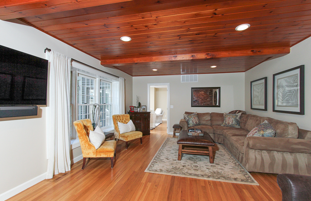 Family room with hardwood floors and wood ceiling 48 Boren Lane Boxford Massachusetts