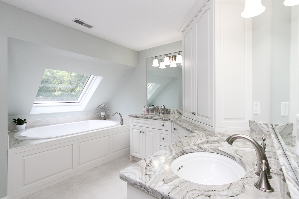 Main bathroom with separate tub and skylight 48 Boren Lane Boxford Massachusetts