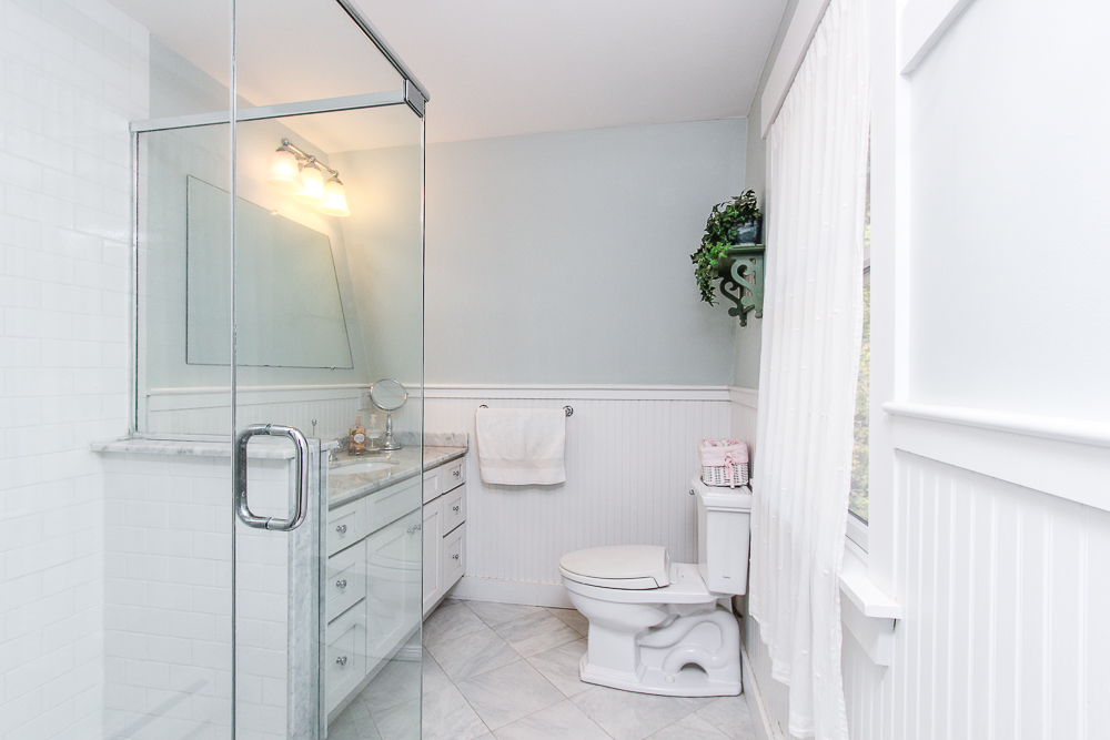 Main bath with glass shower 245 Sagamore Street Hamilton Massachusetts