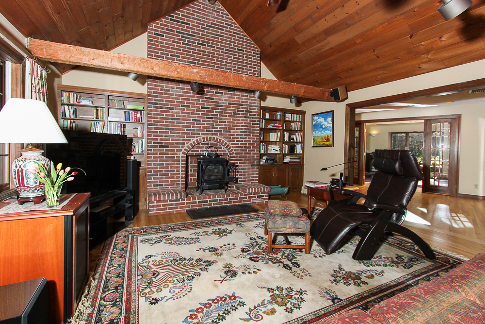 Family room with brick chimney 3 Amberwood Lane Boxford Massachusetts