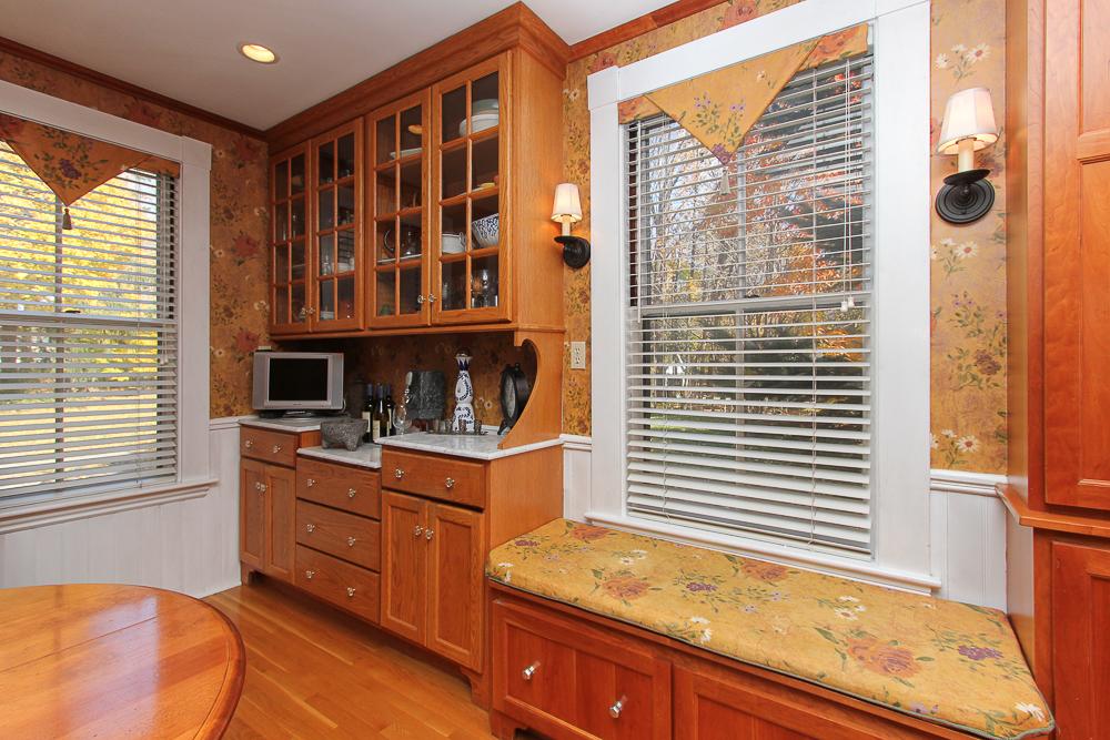 Kitchen built-ins and window seat 26 Walnut Road Hamilton Massachusetts