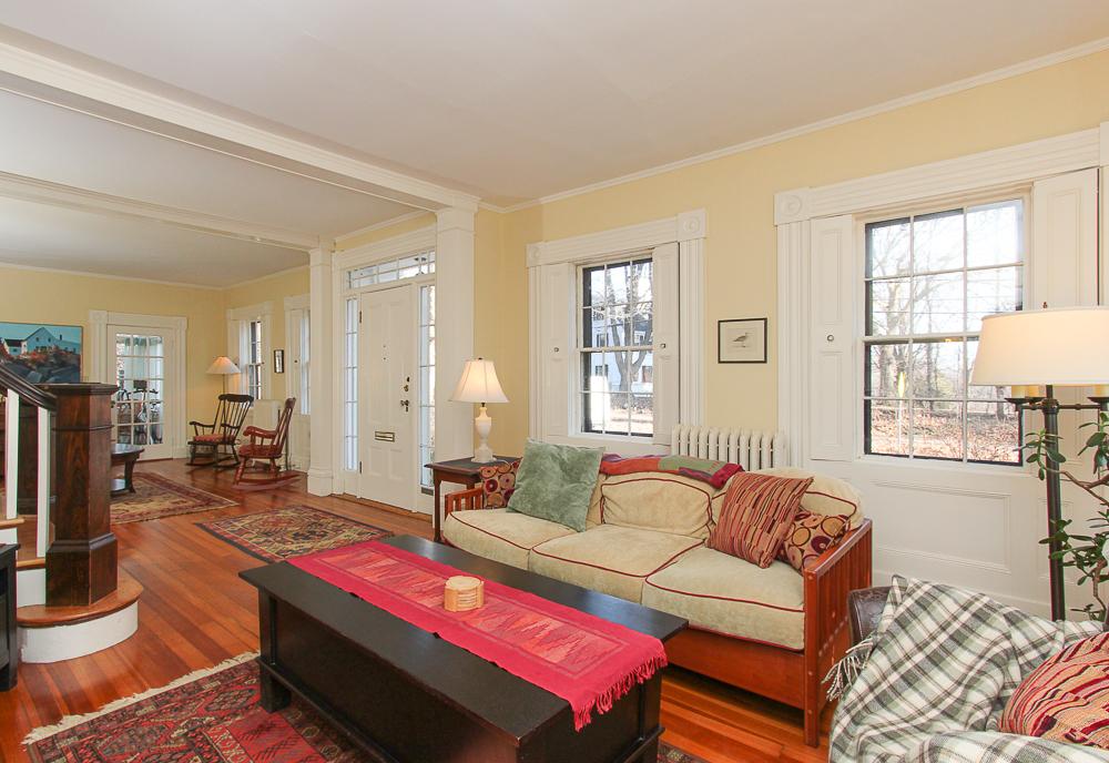 Living room with front door 160 Locust street Danvers Massachusetts