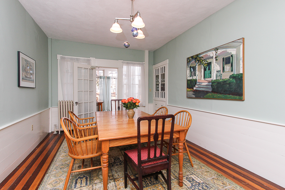 Dining room with glass doors to the porch 160 Locust street Danvers Massachusetts