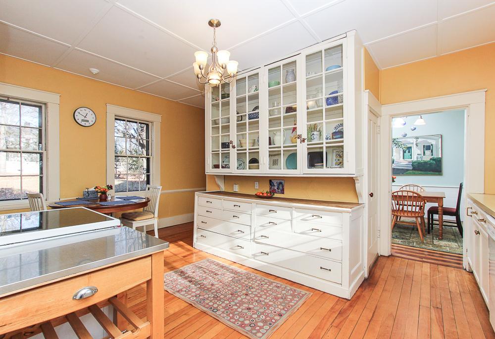 Kitchen with built-in glass front cabinet 160 Locust street Danvers Massachusetts
