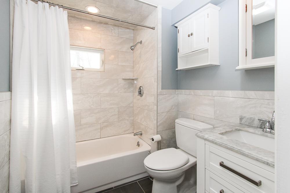 Shared bath with tiled shower 16 Alden Road Peabody Massachusetts