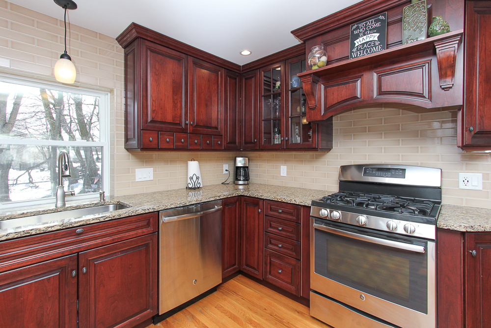 Cherry cabinet and stainless steel applainces 16 Alden Road Peabody Massachusetts