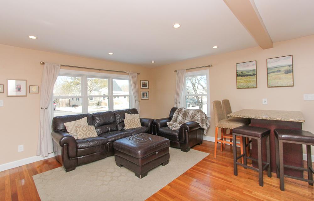Living room with granite breakfast bar 16 Alden Road Peabody Massachusetts
