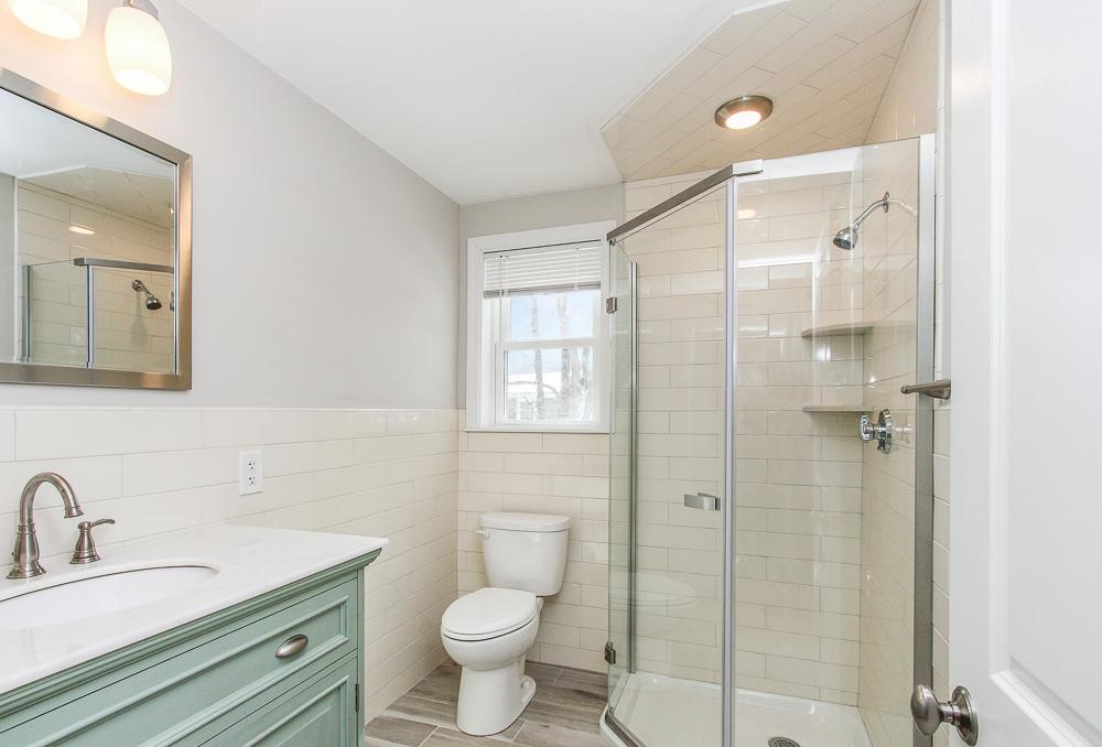 Bathroom with tile floor and tiled shower 16 Alden Road Peabody Massachusetts