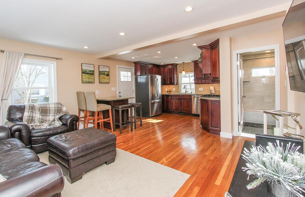 Living room open to kitchen 16 Alden Road Peabody Massachusetts
