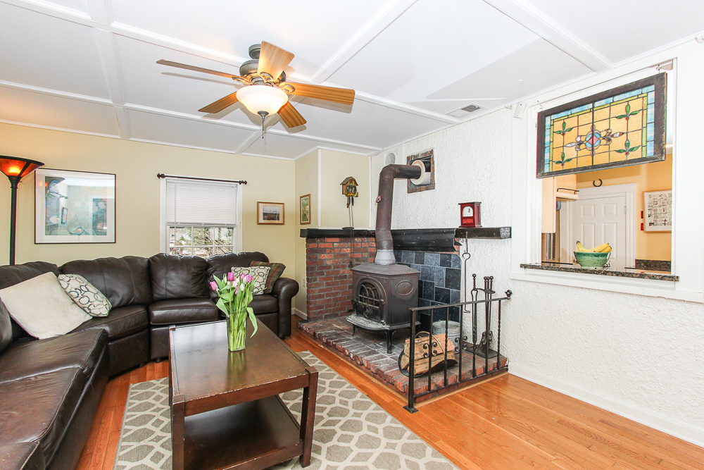 Wood stove in the family room open window to the kitchen 25 Porter Street Wenham Massachusetts