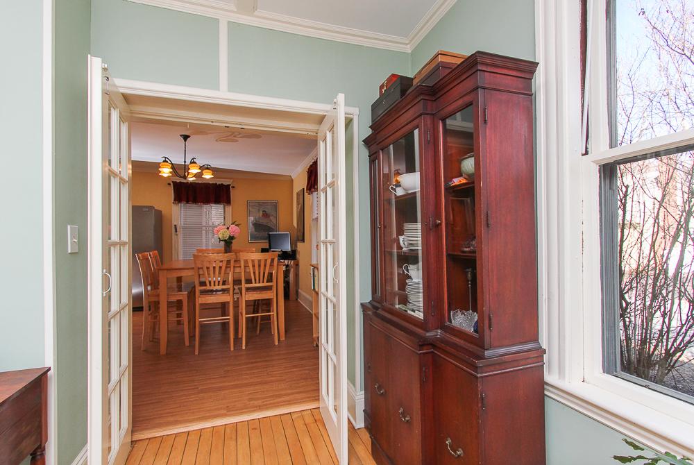 Doors from the living room to the kitchen 25 Porter Street Wenham Massachusetts