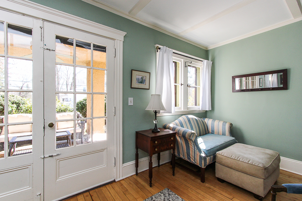 Living room seating area with doors to the front porch 25 Porter Street Wenham Massachusetts