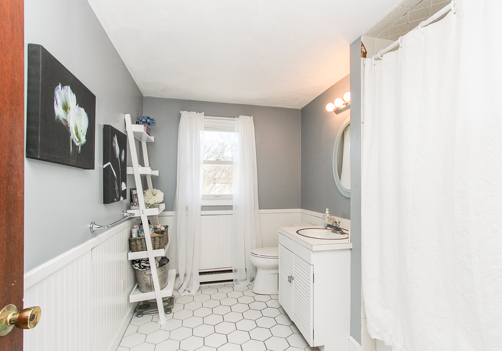 Bathroom with white tile floor 3 Reed Road Peabody Massachusetts