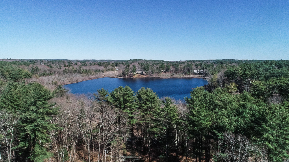 Aerial of Beaver Pond Beverly Massachusetts