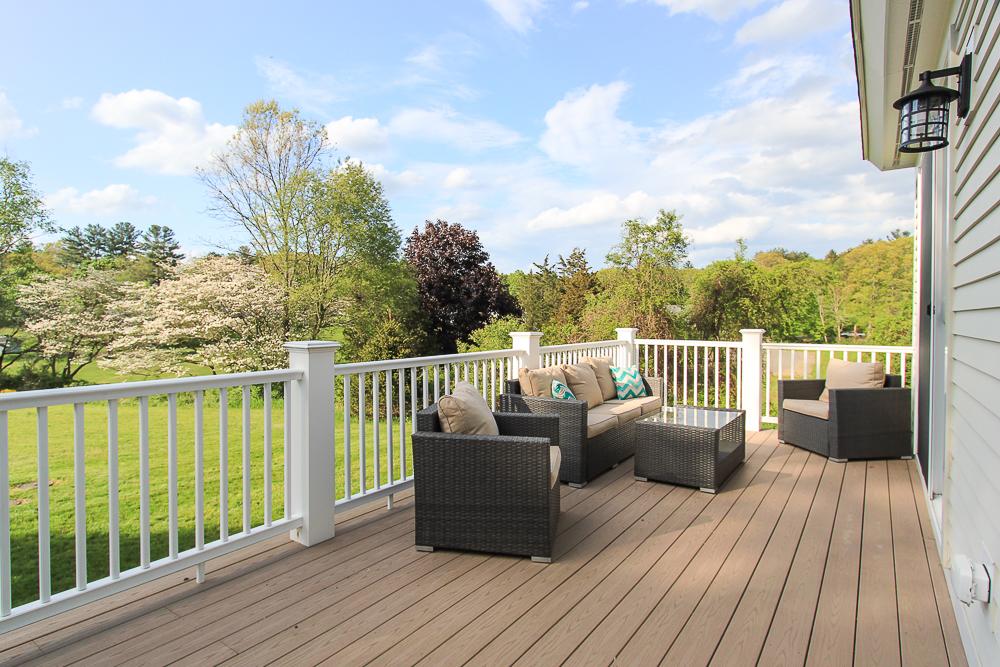 Deck seating overlooking land 1 Patton Drive Hamilton Massachusetts