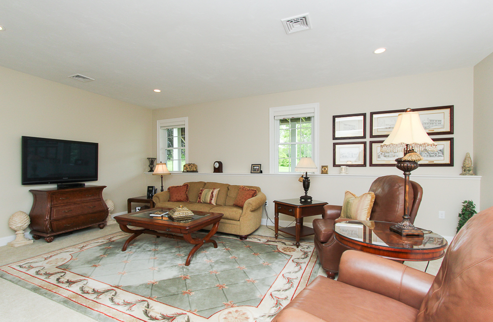 Lower level family room with carpet and recessed lights 1 Patton Drive Hamilton Massachusetts