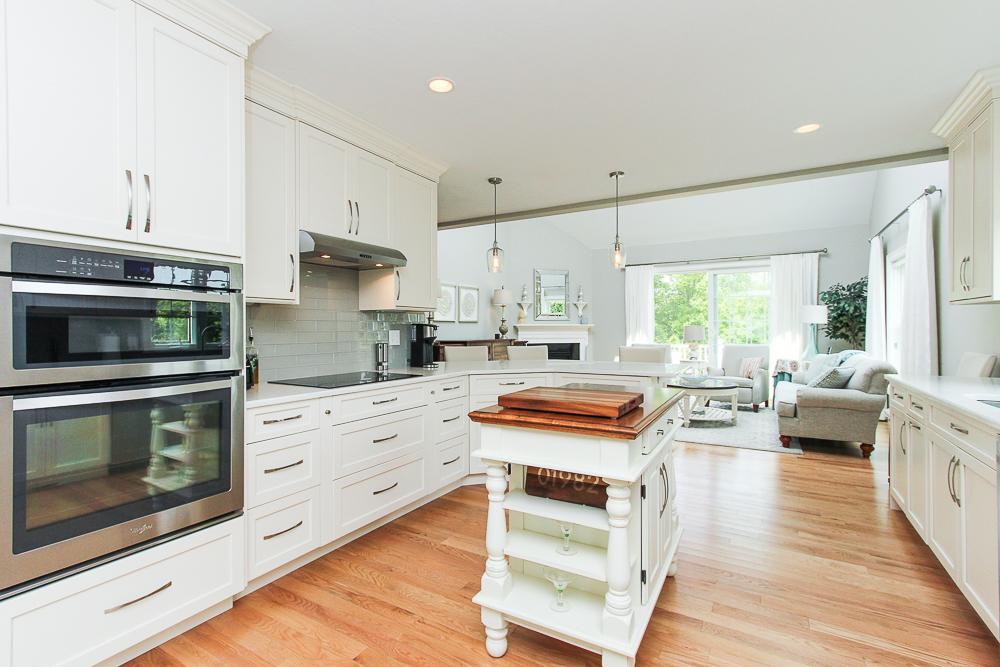Kitchen open to the living room 1 Patton Drive Hamilton Massachusetts