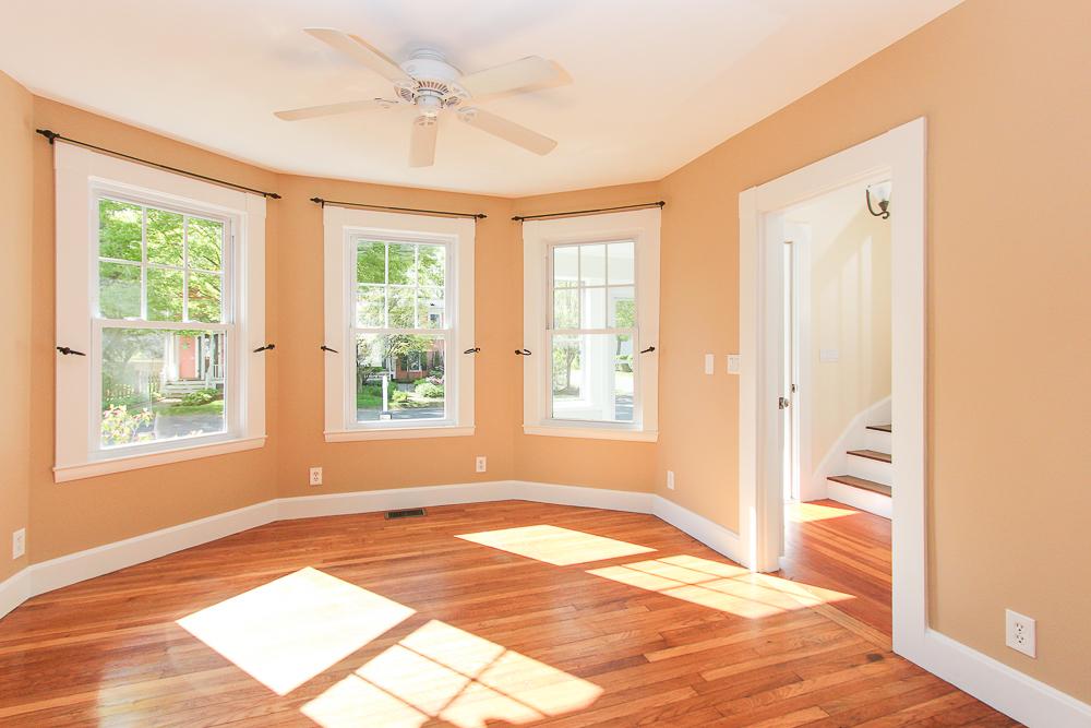 Living room hardwood floors and ceiling fan 68 Union Street Hamilton Massachusetts