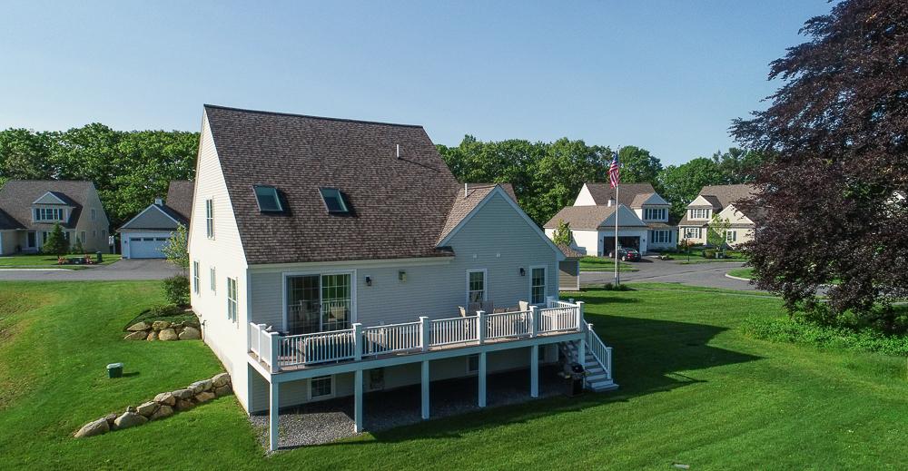 Aerial raer of house 1 Patton Ridge Hamilton Massachusetts