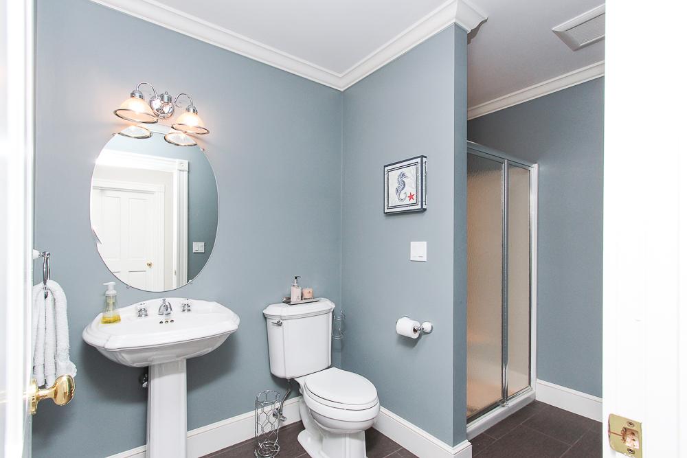 First floor Bathroom with tile and glass shower 8 Gussett Road Wenham Massachusetts