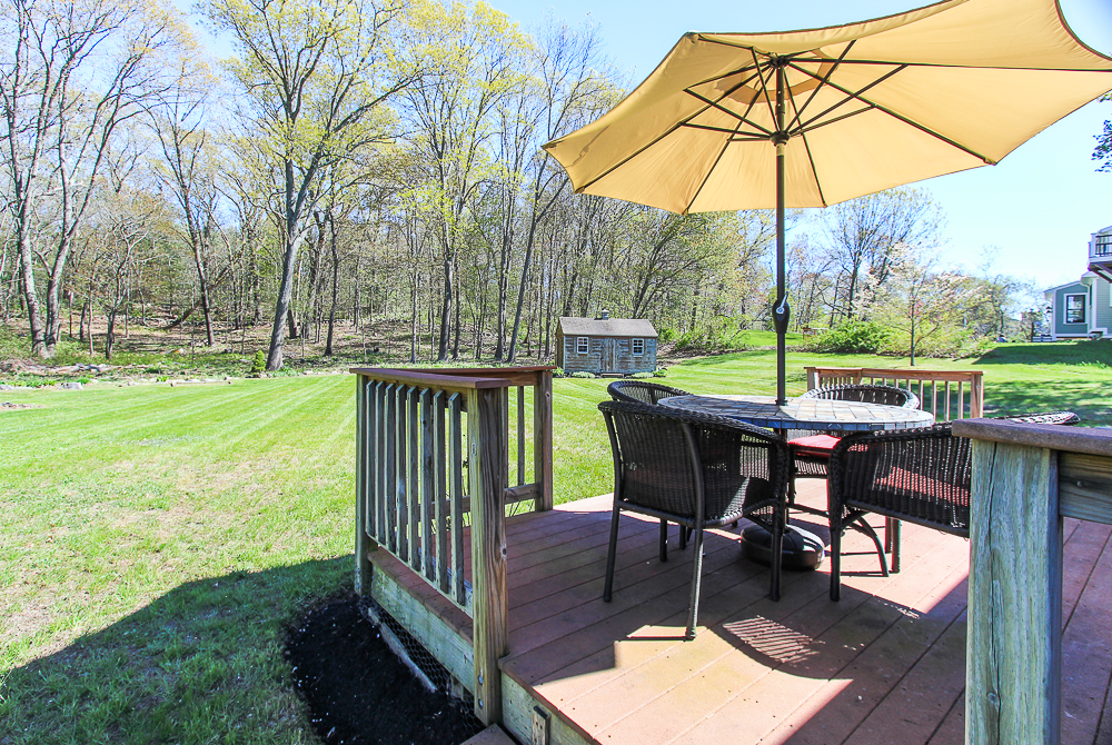 Deck overlooking the yard at 101 Maple Street Wenham Massachusetts