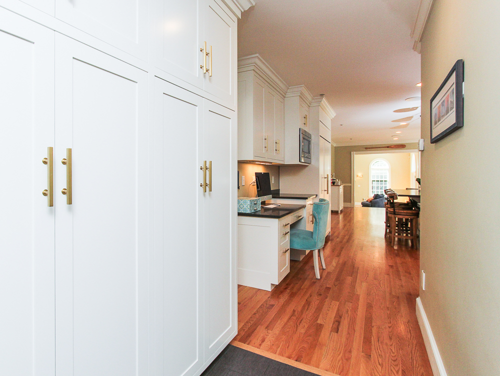 Kitchen desk and cabinets from back hall 8 Gussett Road Wenham Massachusetts