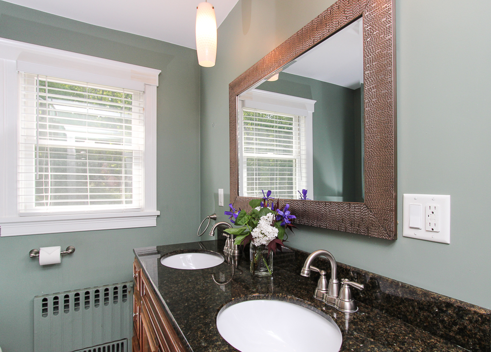 Bathroom with two sinks and granite counters 101 Maple Street Wenham Massachusetts