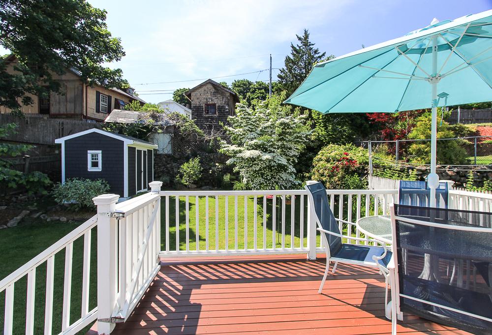 Deck overlooking the yard 18 Hobart Avenue Beverly Massachusetts