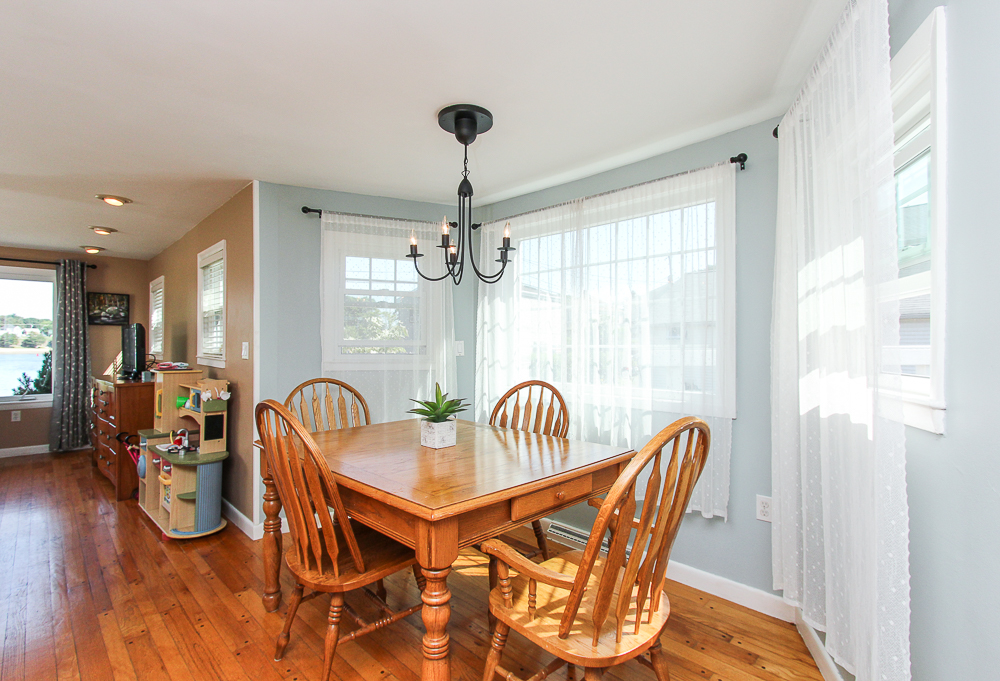 Open dining room with hardwood floors 18 Hobart Avenue Beverly Massachusetts