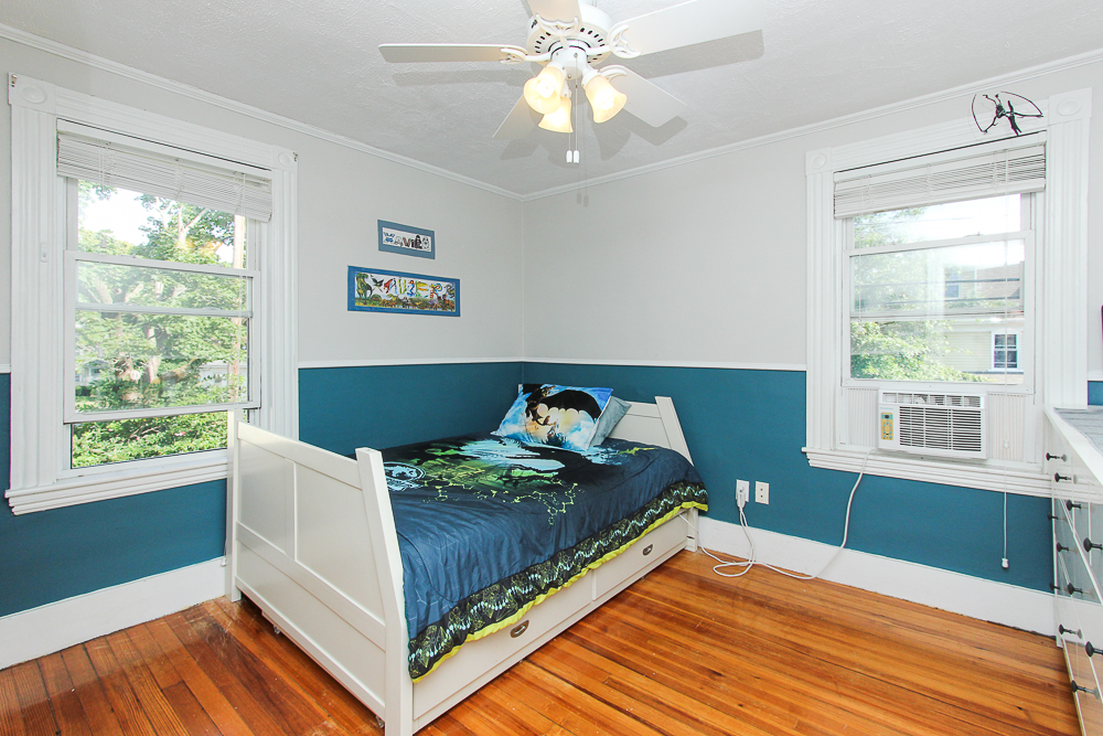 Bedroom with wood floors and ceiling fan 9 Ames Street Beverly Massachusetts