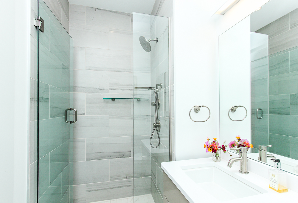 Bathroom with glass front shower 266 Merrimac Street Newburyport Massachusetts - Unit D